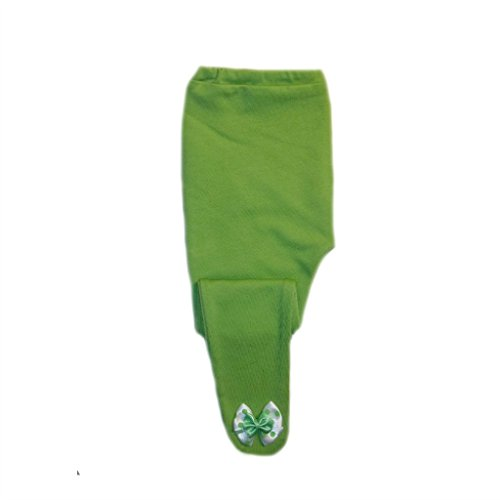 Jacqui's Baby Girls' Lime Green Tights with Polka Dot Double Bows, 6-12 Months