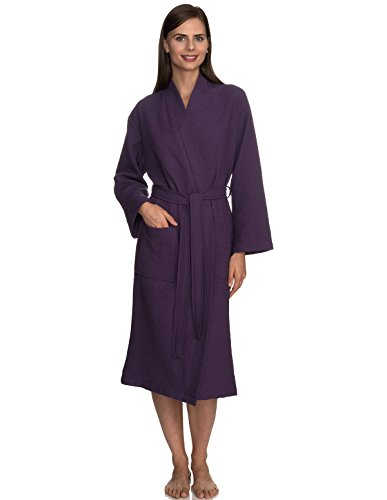 TowelSelections Women's Robe, Kimono Waffle Spa Bathrobe Medium/Large Loganberry