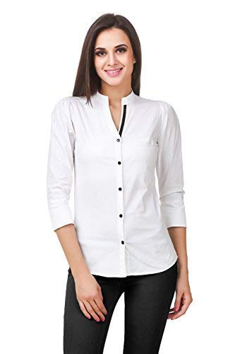 0861340e3b52a5 Fairiano Women 3 4th Sleeve Cotton Lycra White Formal Shirt  Amazon.in   Clothing   Accessories