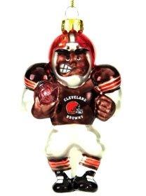 Cleveland Browns Blown Glass Football Player Ornament