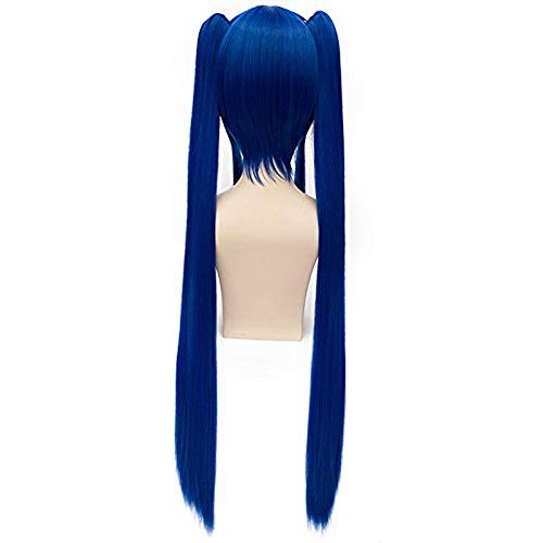 (Fairy Tail Wendy Marvell Long Straight Blue Twin Ponytail Costume Cosplay Wig)