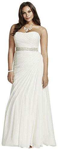Crinkle Chiffon Draped Plus Size Wedding Dress Style 9V3540, Ivory, 20W