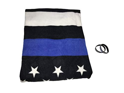 Family 180 Blue Line American Flag Blanket with 2 Thin Blue Line Silicone Bracelets, 3-pcs, Black, White, and Blue (Rubber Weave Bracelet)