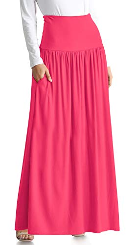 Coral Skirts for Women Maxi Skirt with Pockets Flowy Maxi Skirt Gathered Waist Long Skirt Coral Maxi Skirt (Size XXX-Large US 16-18, Coral - Skirt Gathered Waist