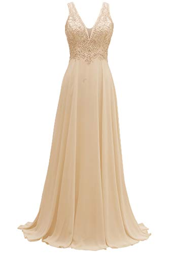 - V-Neck Bridesmaid Dresses Long Beaded Chiffon Lace Beach Wedding Aline Evening Gowns for Women Champagne Size 6