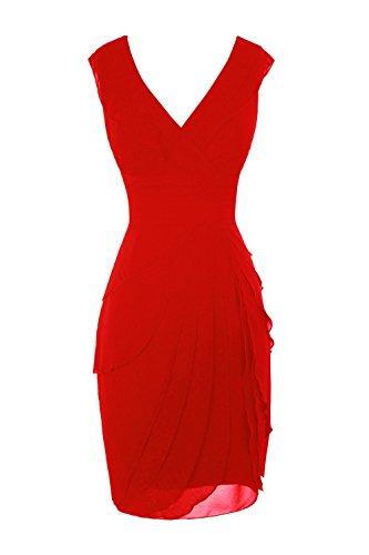 Bess Longueur Du Genou Col V Femmes De Mariée En Mousseline De Soie Mère Robes De Mariée Rouge