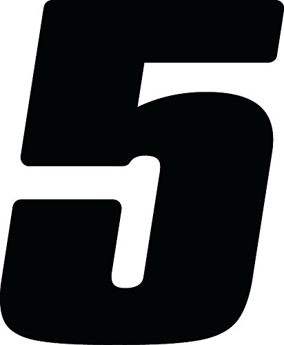 Dirt Digits DD53B-5 Black 5.5'' High-Gloss Precision Die Cut Vinyl Number 5, 3 Pack
