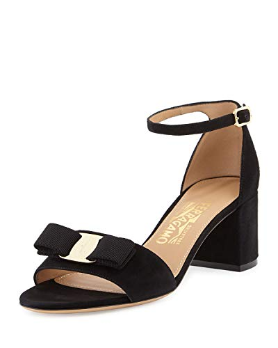 SALVATORE FERRAGAMO Womens Gavina Leather Open Toe Special, Black, Size 8.0 ()