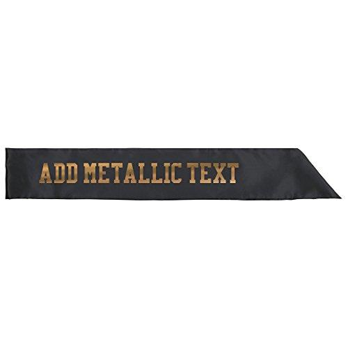 Custom Gold Metallic Text Sash: Adult Satin Party Sash