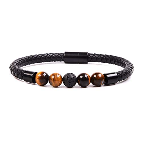 Tigers Leather (RIVERTREE Beaded Leather Braided Bracelet 8mm Tiger Eye and Lava Rock Balancing Healing Anti Anxiety Calming Genuine Top Grain Rope Wristbands Stainless Steel Magnetic Clasp for Men)