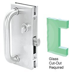 CRL 4''x10'' Non-Handed Satin Chrome Finish Center Lock with Hook Throw Deadlock Latch by CRL