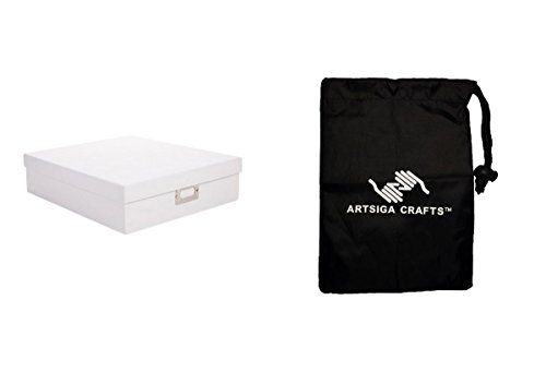 Darice Papercraft Storage Memory Storage Box White 3.75 x 13 x 14.75in. (6 Pack) 1208 63 bundled with 1 Artsiga Crafts Small Bag by Artsiga Crafts Papercraft Storage