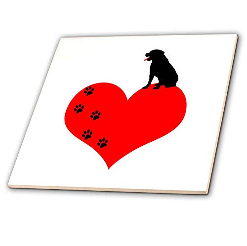 3dRose Alexis Design - Animals Dogs - Red heart, canine paws, black dog on top. I love dogs funny design - 8 Inch Ceramic Tile ()