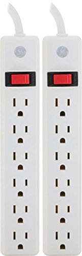 GE 2-Pack 6-Outlet Power Strip, 2ft Cord, Wall Mount, Integrated Circuit Breaker, 14AWG, UL Listed, White, 14087