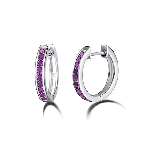 - Carleen 925 Sterling Silver Channel Setting Round Cut Cubic Zirconia CZ Simulated Diamond Hinged Hoop Earrings for Women Girls, 18mm (Purple)
