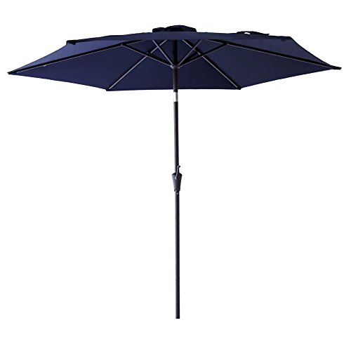 Navy Market Blue Umbrella - FLAME&SHADE 9' Market Patio Outdoor Umbrella Crank Lift Push Button Tilt Navy Blue
