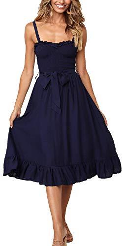 LOMON Women's Summer Dress Adjustable Strap Tie Waist Beach Party Casual Dress (Navy Blue,XL)