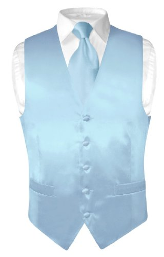 Biagio Men's Silk Dress Vest & Necktie Solid Baby Blue Color Neck Tie Set S