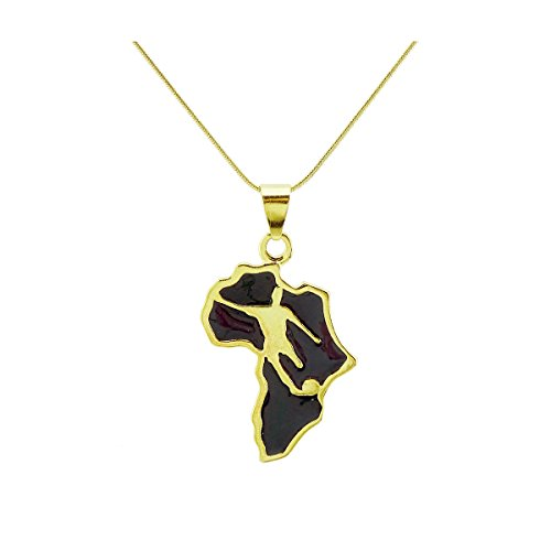 Passage 7 18K Real Gold Plated Map Of African Football Pendant Necklace Chain Length 70CM ()