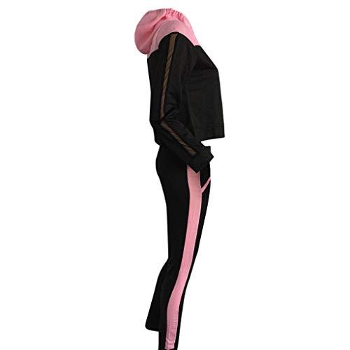 Fashion Women Casual Splice mesh Sweatshirt Hoodie Hooded Long Sleeves Sport Hoodies Tracksuit Tops+Long Pants Set by iLUGU (Image #2)