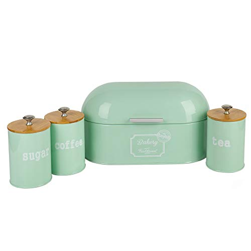 Hot Sales X680L Set of 4 Metal Light Green Vintage Home Kitchen Gifts Tea Coffee Sugar Tin Canister/Bread Box/Bin/Container/Holder