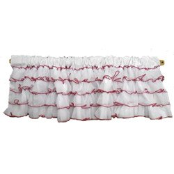 Layered Window Valance with Colored Trim, Color: Red by Baby Doll