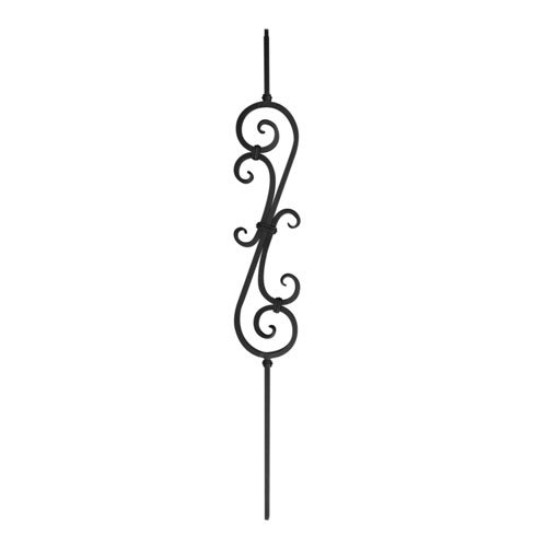 Powder Coated Steel Balusters - Indital - Powder Coated Baluster, Hammered Double S-Scroll, 1/2