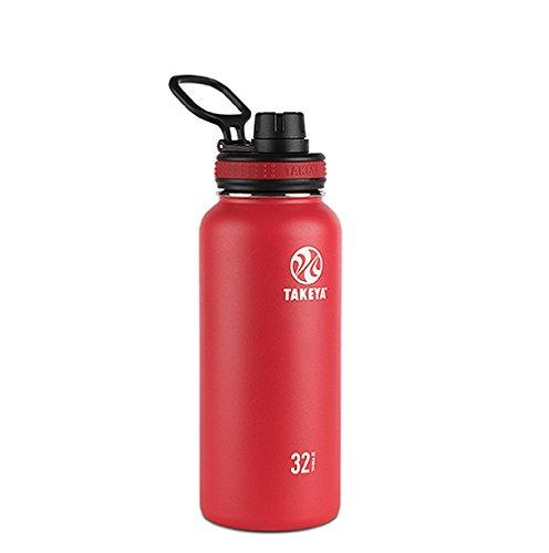 Takeya Originals Vacuum-Insulated Stainless-Steel Water Bottle, 32oz, Red