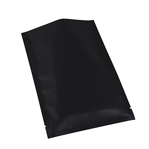 100x Premium Glossy Black Mylar Foil Open Top Pouch Smell Proof Heat Seal Bags (9cm x (Seal Heat Set)
