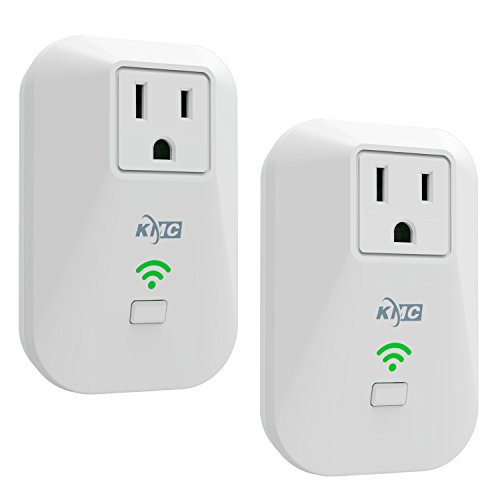 KMC 2 Pack WiFi Smart Plug Mini Outlet with Energy Monitoring and Timer Switch, No Hub Required, Remote Control Light Switch Compatible with Alexa Echo and Google Assistant