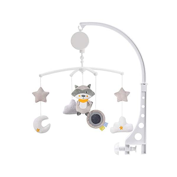 Gentlecarin Baby Crib Mobile,Musical Nursery Crib Mobile,Infant Bed Decoration Toy Hanging Rotating Bell Nursery Bed Bell with Arm and Melodies for Girl or Boy