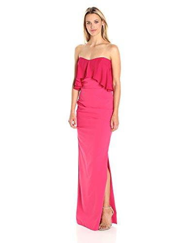Nicole Miller Women's Techy Crepe Strapless Ggt Combo Dress, Watermelon/WA, 4