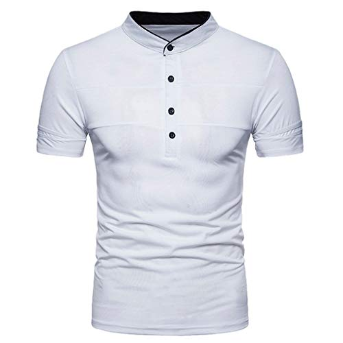 (refulgence Men's Personality Standing Collar Button Short Sleeve Classic Shirt Casual Slim Blouse Top)