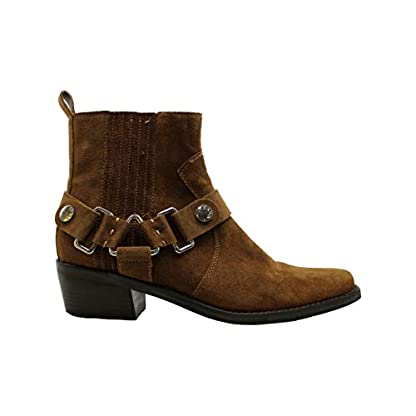 DKNY Womens Mina Suede Almond Toe Ankle Fashion Boots, Brown, Size 1