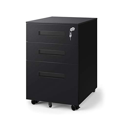 DEVAISE 3-Drawer Mobile Pedestal File Cabinet with Lock, Legal/Letter Size, Black