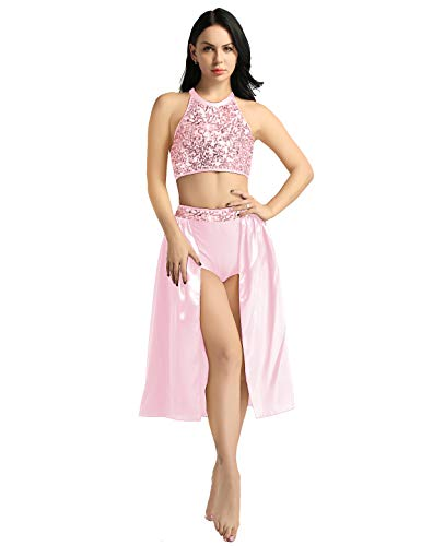 iiniim Women's 2 Pieces Sequin Lyrical Contemporary Ballet Dance Dress Gymnastic Dancing Costume Pink Small]()