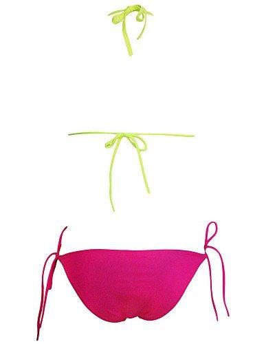 ZQ Mujer de color verde color rosa cadena detalle Bañador de dos piezas, yellow-l, talla única yellow-m
