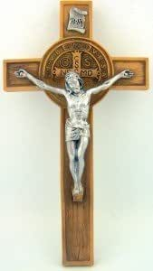 PLC 7 Inch Woodtone Resin St Benedict Christ Hanging Wall Crucifix Home Decor by Religious Gifts