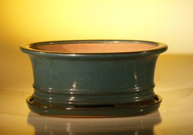 Bonsai Boy's Dark Green Ceramic Bonsai Pot - Oval Professional Series with Attached Humidity Drip Tray 10 75 x 8 5 x 4 125 - Glazed Pottery Cover