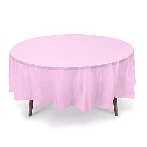 - GiftExpressions 12-Pack Party Disposal Premium Plastic Tablecloth 84 Inch. Round Table Cover (Light Pink, 12 Pack Round 84 Inch.)