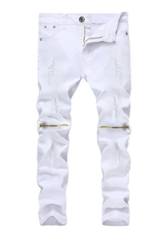 Kihatwin Big Boy's Casual Skinny Ripped Jeans Slim Fit Distressed Zipper Pants with Holes (14 Slim, White)