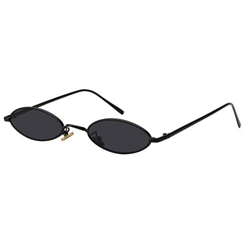 ROYAL GIRL Vintage Oval Sunglasses Small Metal Frames Designer Gothic Glasses (BLACK - Sunglass Glass Black Frame