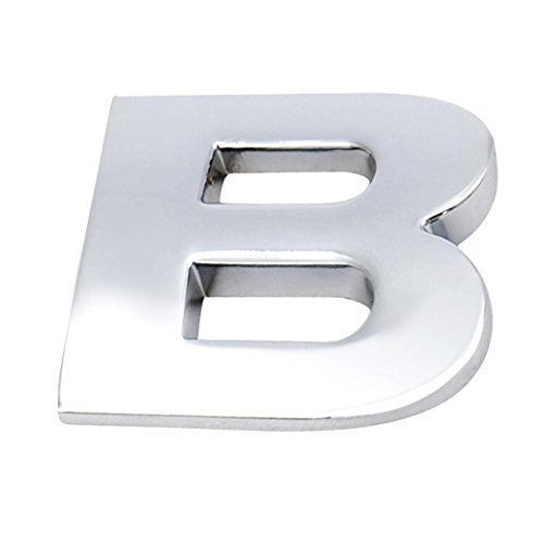 Kstare 3D Metallic Alphabet Car Sticker - Match Your Lucky Letters Or Words (A-Z) - Emblem Letter Silver Badge Decal By (Silver, B)