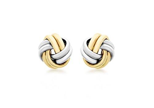 9ct or 2couleurs 9mm noeud Boucles d'oreilles clous