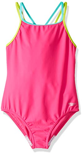 Speedo Criss Cross One Piece Swimsuit, Electric Pink, Size 10