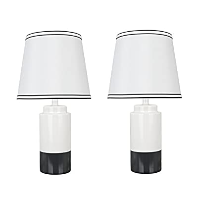 "Aspen Creative 40114-32 Two Pack Set-18 1/2"" High Traditional Ceramic Table Empire Shaped Lamp Shade 10"" Wide, Off White and Black"