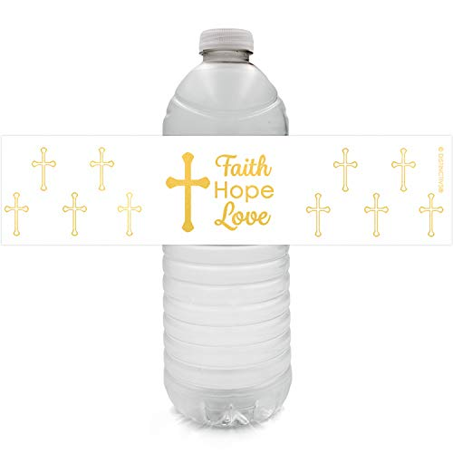 - Baptism, Christening, First Communion Party Favor Decorations | Gold Cross Water Bottle Labels | 24 Stickers