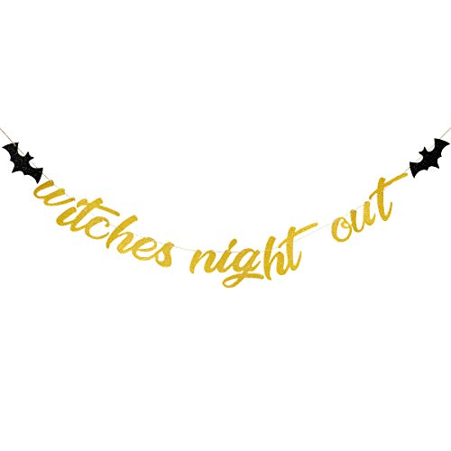 Halloween Witches Night Out - Gold Glittery Witches Night Out Banner,Halloween