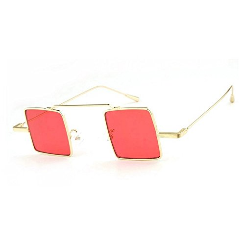 MINCL/Stylish Retro Metal Frame Square Lens Literary Color Small Sunglasses (gold-red, - Lens Square