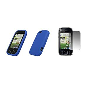 Motorola CLIQ XT - Electric Blue Soft Silicone Gel Skin Cover Case + Crystal Clear Screen Protector for Motorola CLIQ XT